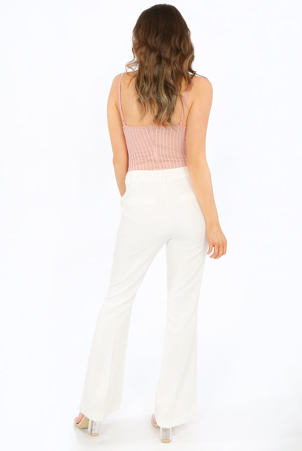 TAILORED BOOT CUT TROUSERS WHITE