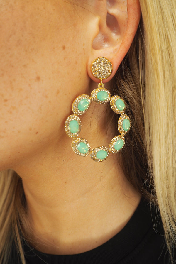 LUNA TURQUOISE AND GOLD CRYSTAL EARRINGS