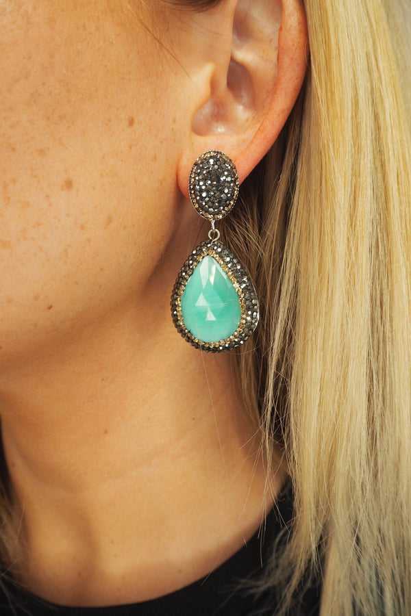 TURQ & DARK GREY DROP CRYSTAL EARRINGS