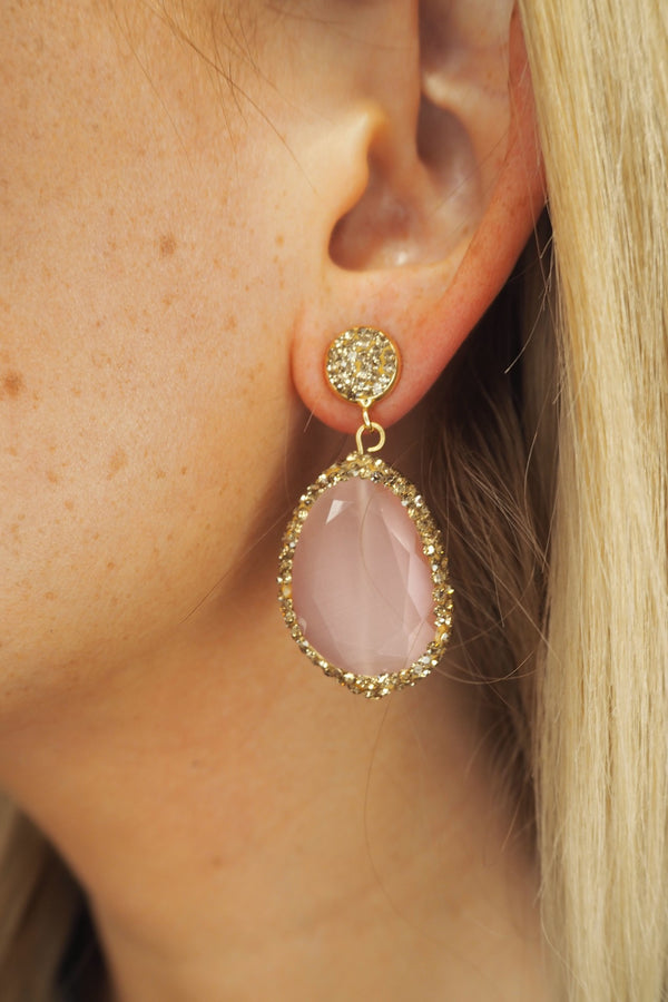 PINK & GOLD DROP CRYSTAL EARRINGS