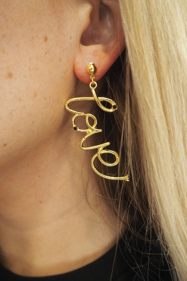 LOVE SLOGAN GOLD EARRINGS
