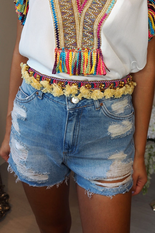 image 1 of MULTI FRINGE POM POM BELT