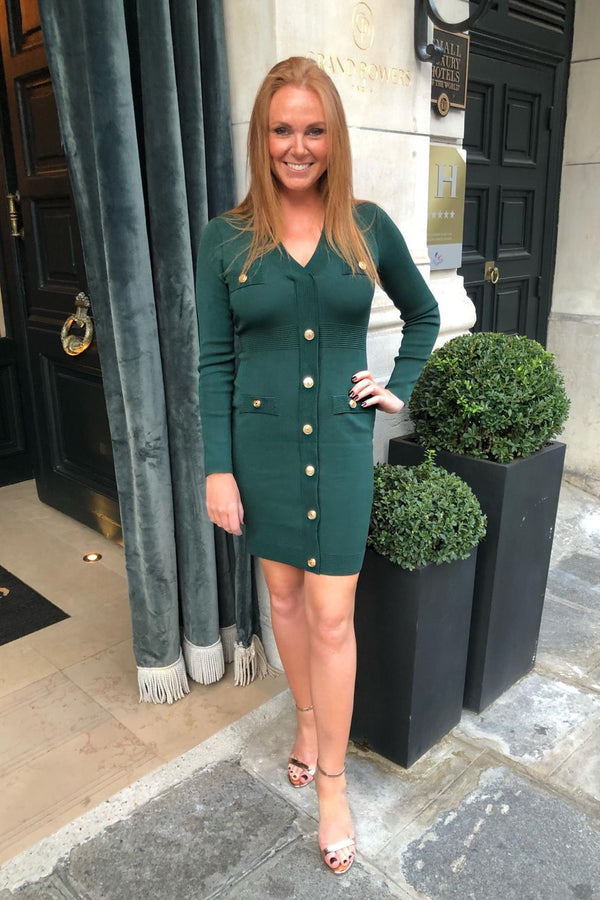 EMERALD GREEN KNIT DRESS WITH GOLD BUTTONS