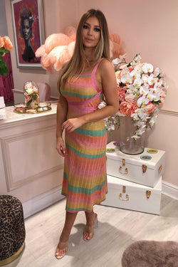 RUTH EROTOKRITOU PINK/ORANGE STRIPE DRESS