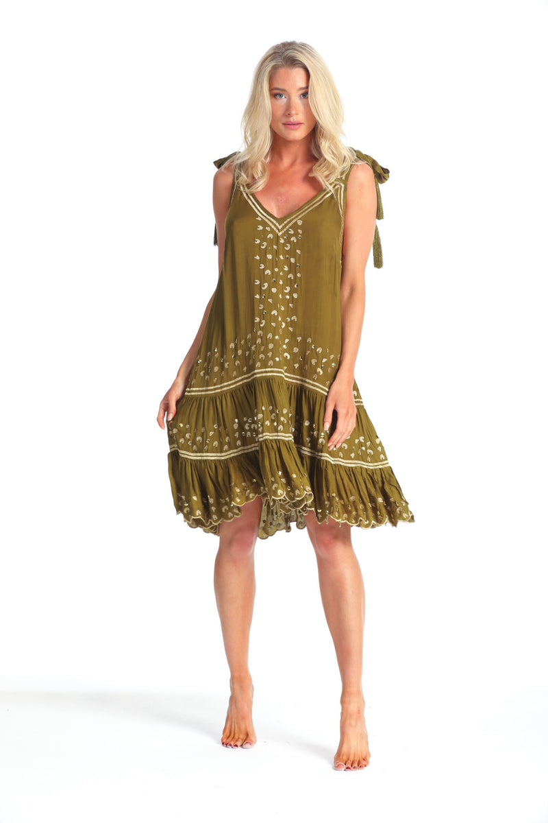 KARLIE KHAKI/GOLD LEOPARD TUTU DRESS