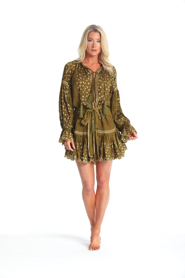 PREEN KHAKI/GOLD LEOPARD EMBROIDERED DRESS