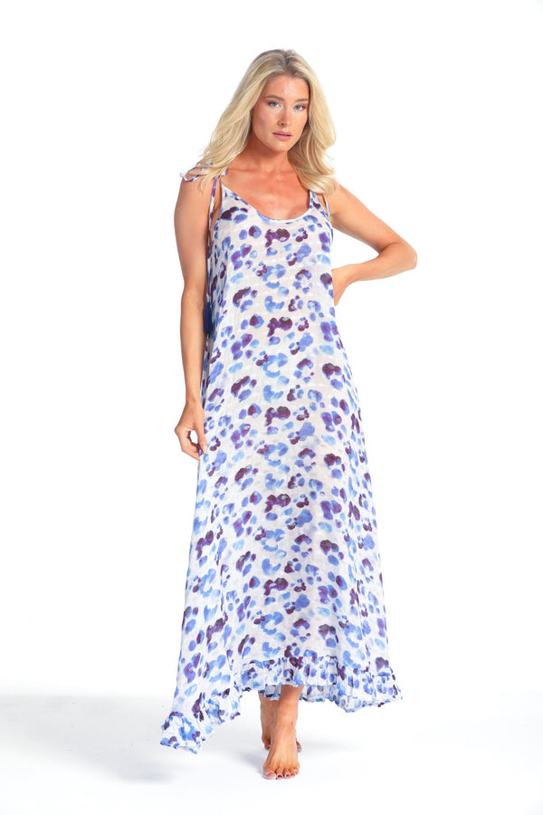 ROSA INDIGO LEOPARD MAXI DRESS