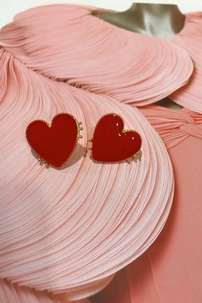 image 1 of LOVE HEART RED & GOLD EARRINGS