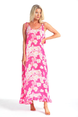 ROSA ELECTRIC ROSE PRINT MAXI DRESS