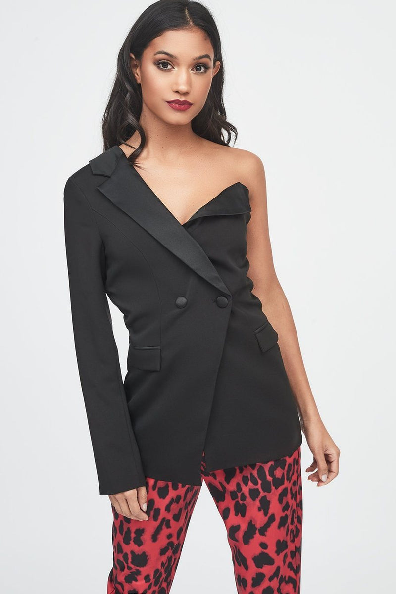 image 5 of LORENA ONE SHOULDER TUXEDO JACKET