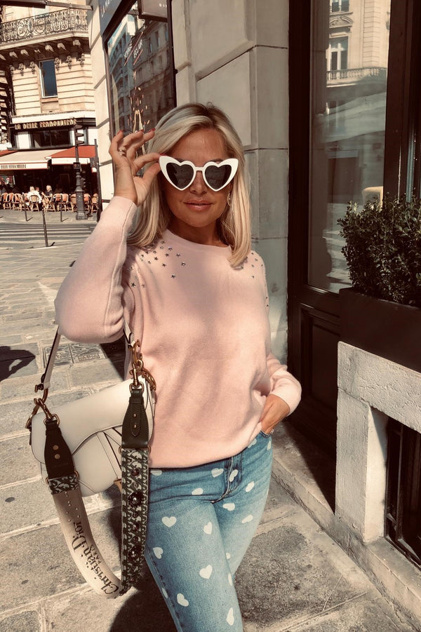 VERONICA LIGHT PINK KNIT JUMPER WITH STARS