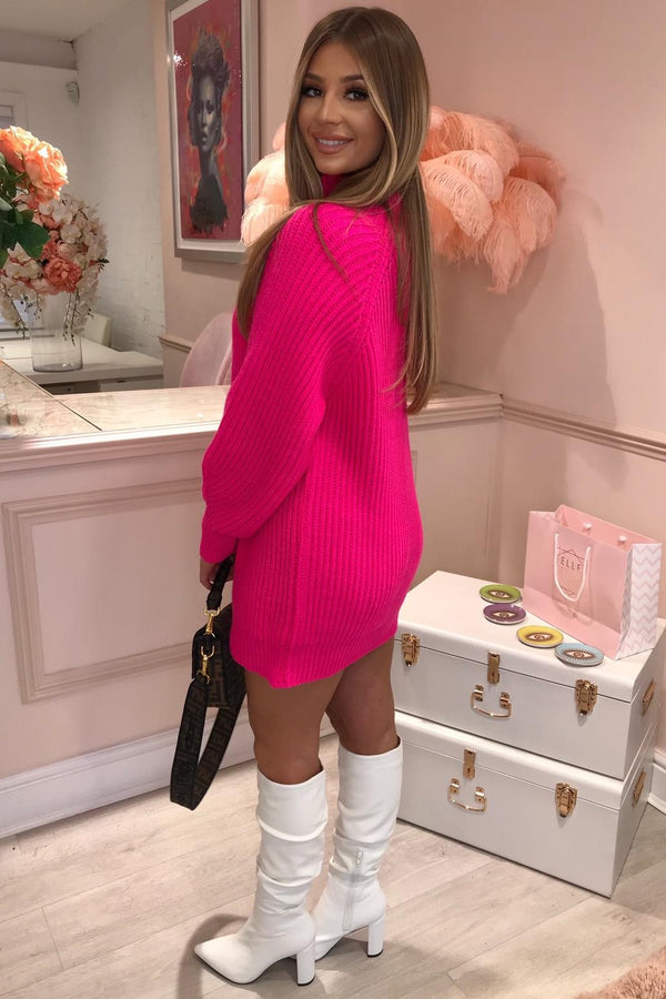 FUCHSIA PINK HIGH NECK KNITTED JUMPER