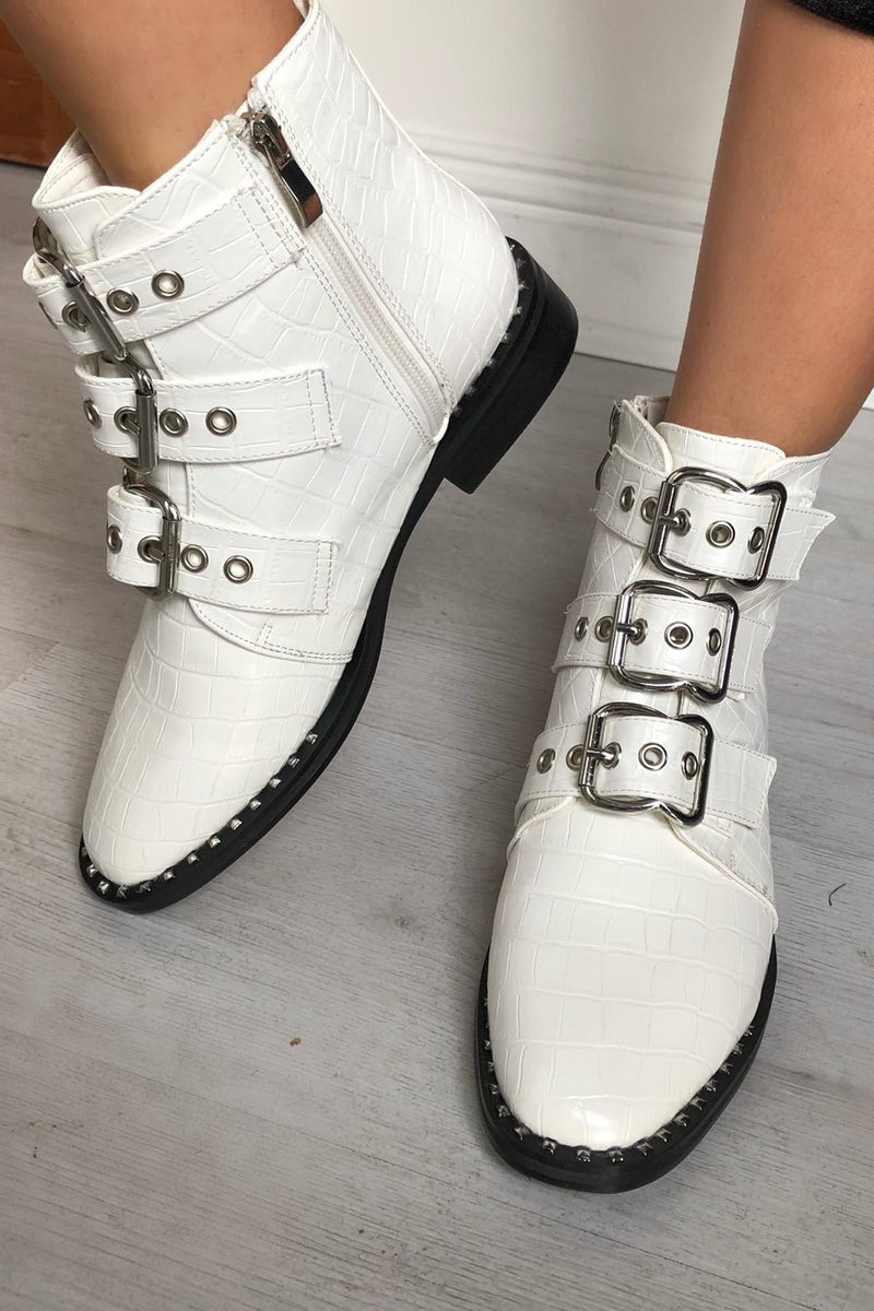 image 1 of CROC BUCKLE BOOTS WHITE