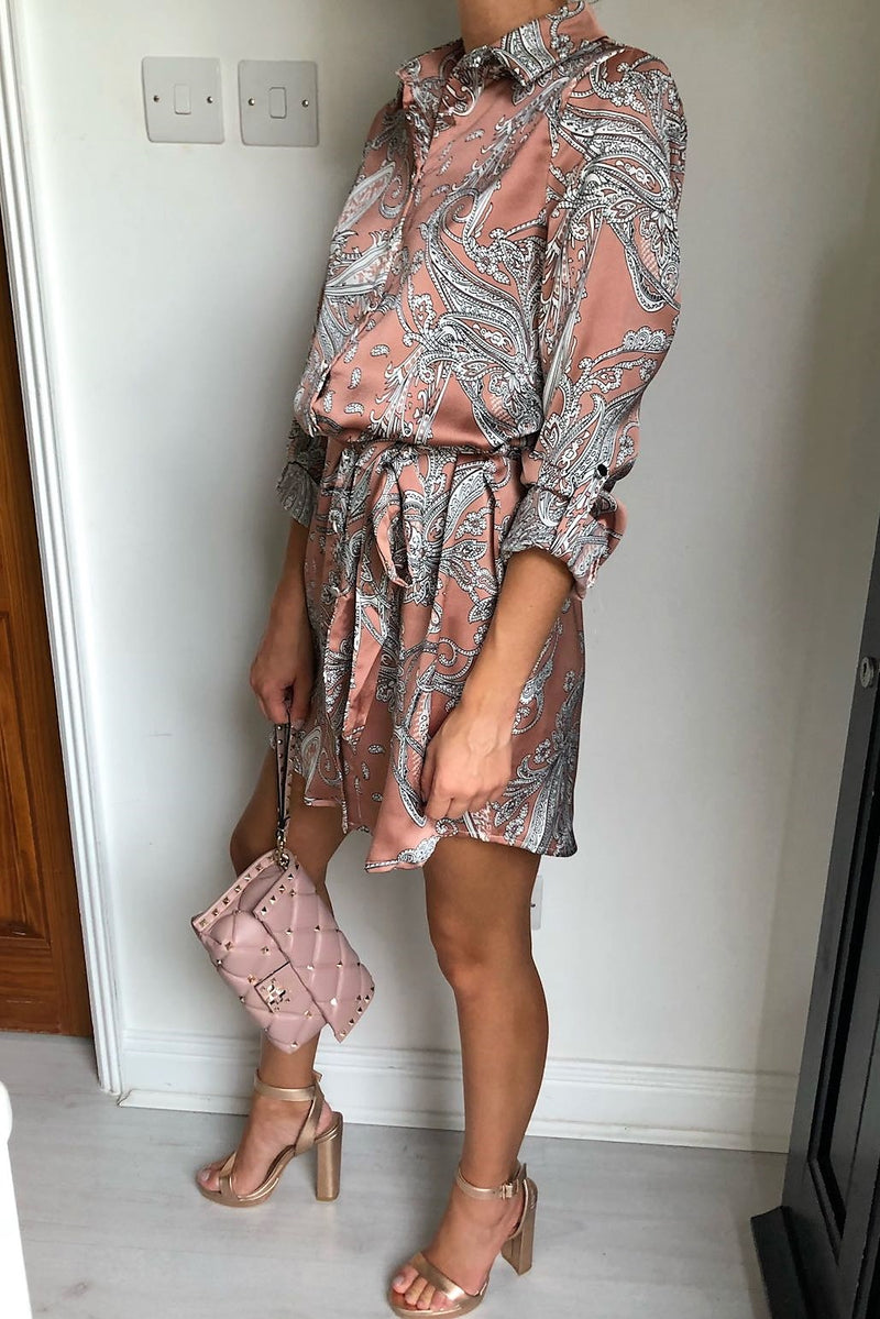 image 4 of PAISLEY SWIRL SILKY SHIRT DRESS NUDE