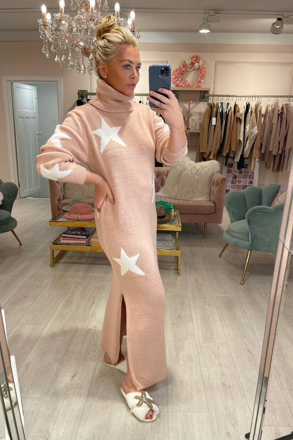 BABY PINK STAR KNITTED MAXI ROLL NECK DRESS