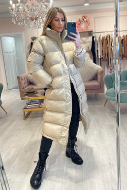 PADDED LONG LINE PUFFA COAT BEIGE