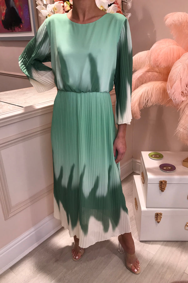 ABIGAIL GREEN TYE DYE MIDI DRESS