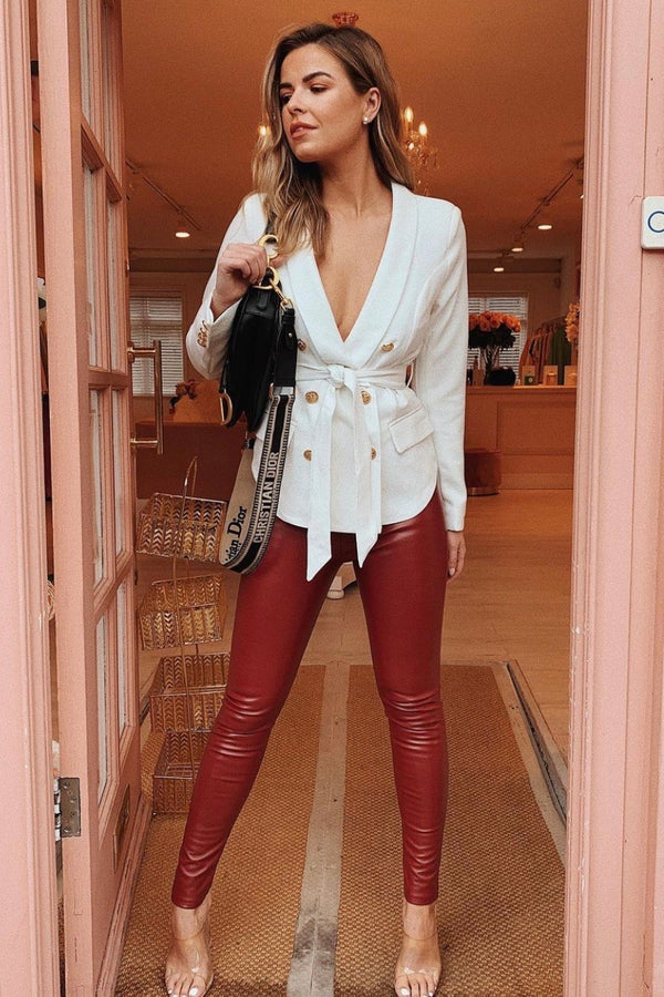 WHITE BLAZER WITH BELT DETAIL