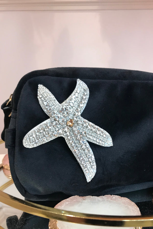 BLACK VELVET BAG WITH STARFISH BROCH