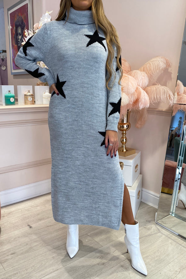 GREY STAR KNITTED MAXI ROLL NECK DRESS