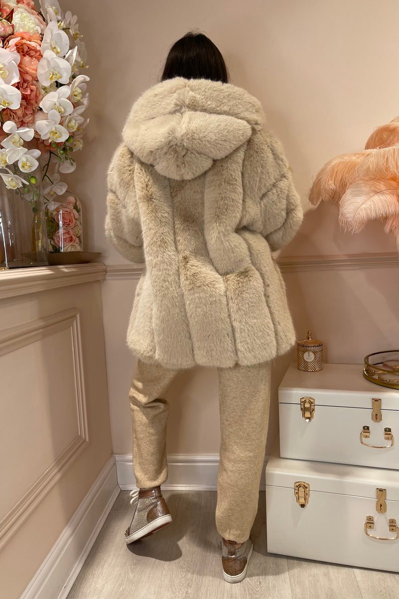 CREAM FAUX FUR HOODED COAT
