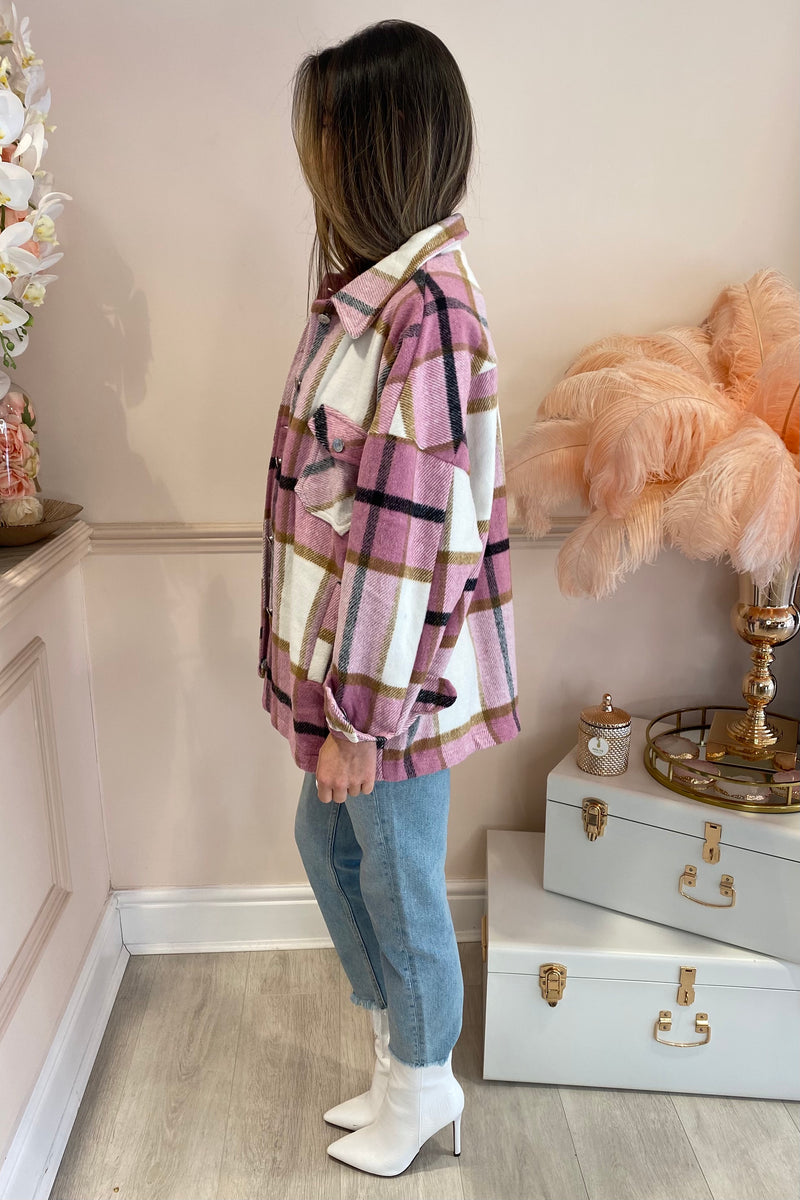 BETSY PINK CHECK FLANNEL SHIRT