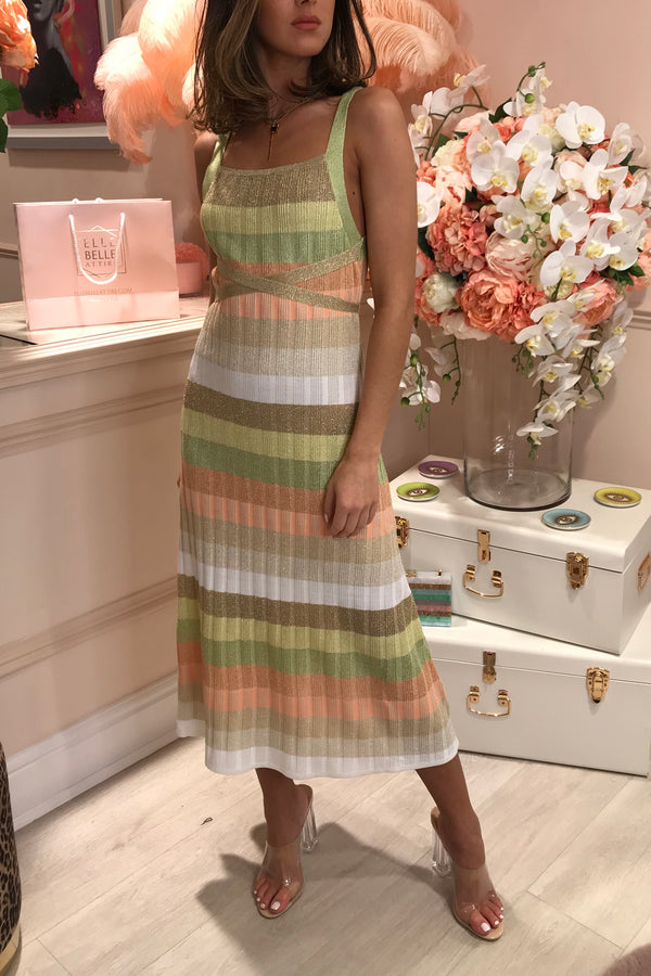 RUTH EROTOKRITOU PEACH/GREEN STRIPE DRESS