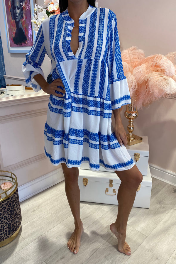 BLUE/WHITE AZTEC RUFFLE DRESS