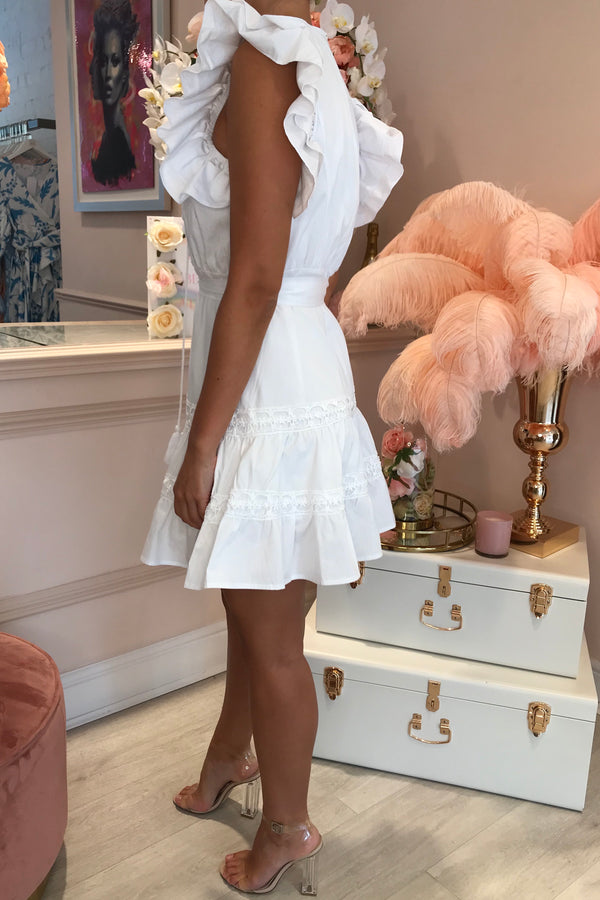 EMELIE WHITE FRILL MINI DRESS