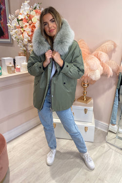 KHAKI FOX FUR PARKER COAT