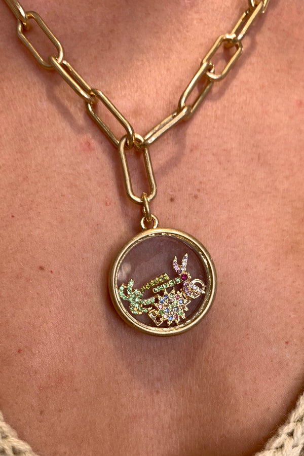 KT X BIBI CLUB TROPICANA GOLD PALM LOCKET NECKLACE