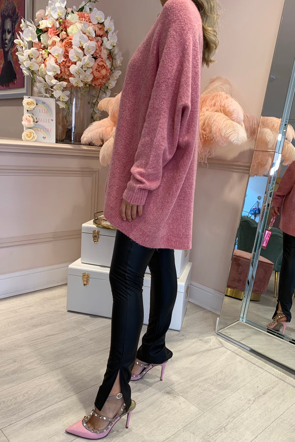 MAUVE MARL KNITTED JUMPER