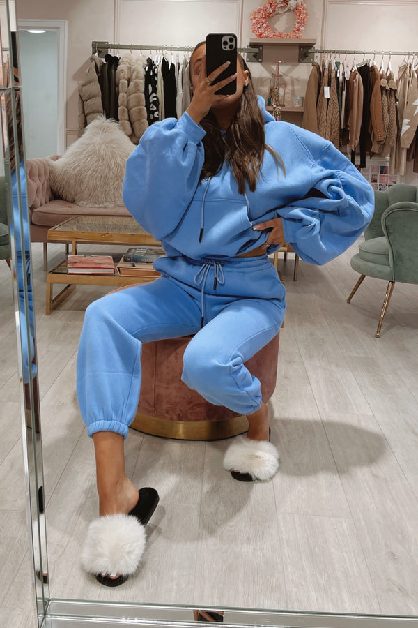 CAROLINA BLUE RUCHED SLEEVE HOODIE & JOGGER SET
