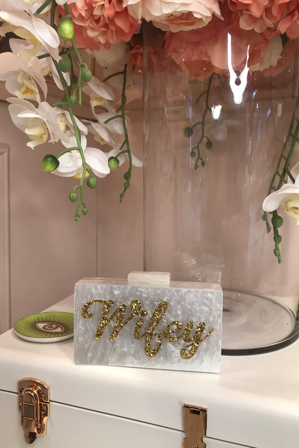 WIFEY GOLD/WHITE BOX CLUTCH