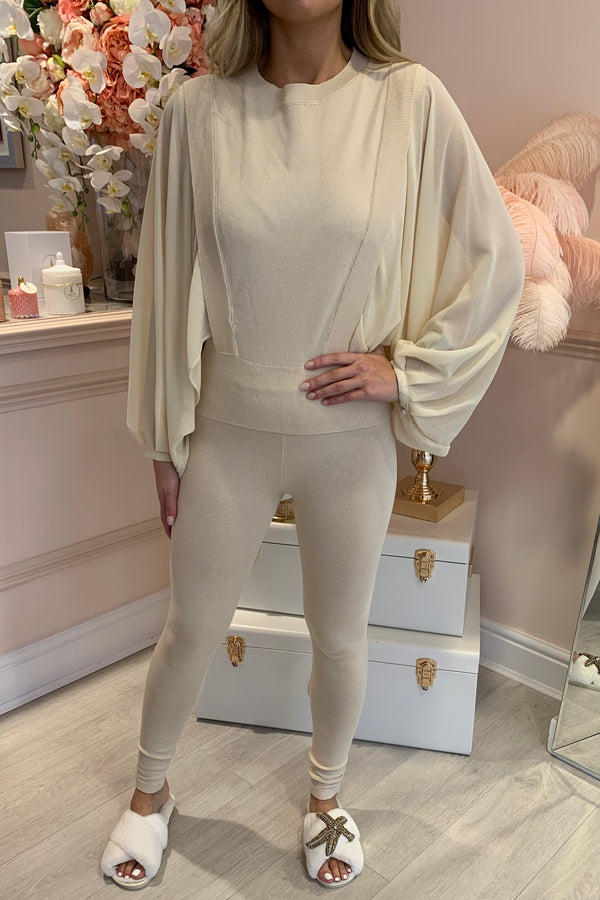 MILLIE CREAM KNITED SET WITH CHIFFON SLEEVE
