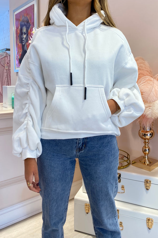 WHITE RUCHED SLEEVE OVERSIZED HOODIE
