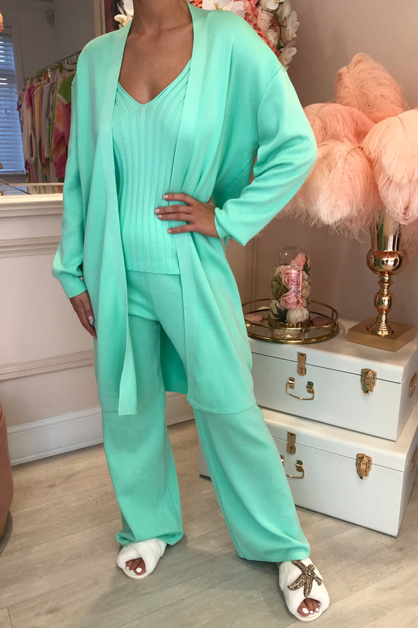 MINT RIBBED LOUNGE 3 PIECE