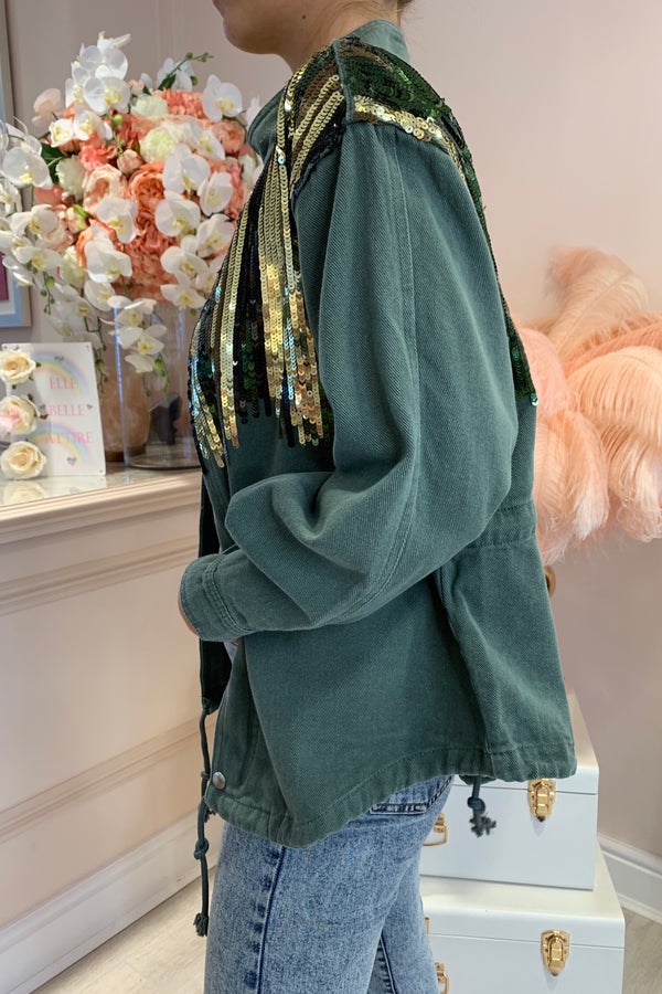 KHAKI DENIM JACKET WITH SEQUIN DETAIL