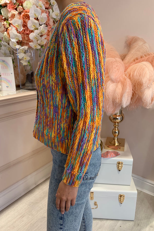 MULTI COLOURED KNIT CARDIGAN