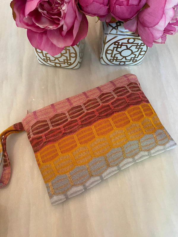 *PRE ORDER* RUTH EROTOKRITOU PINK/ORANGE CHEVRON CLUTCH BAG