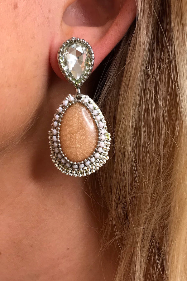 LOLA PEACH BEADED EARRINGS
