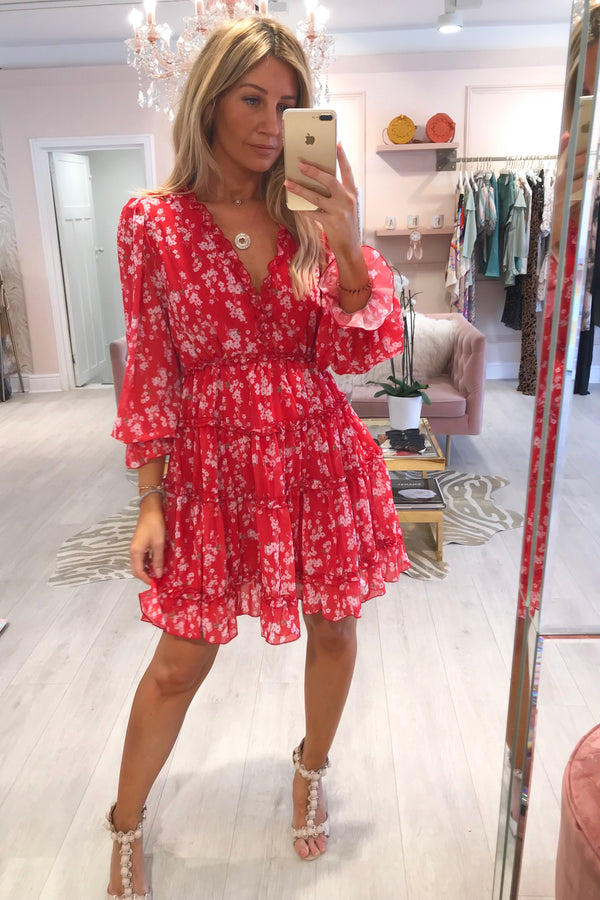 PHOEBE RED FLORAL FRILL DRESS