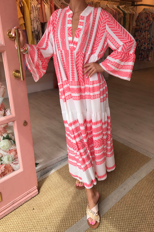 CORAL/WHITE AZTEC RUFFLE MAXI DRESS
