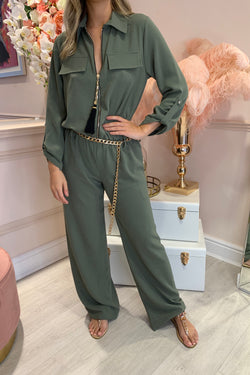 KHAKI SHELL ZIP FRONT LOOSE FIT JUMPSUIT