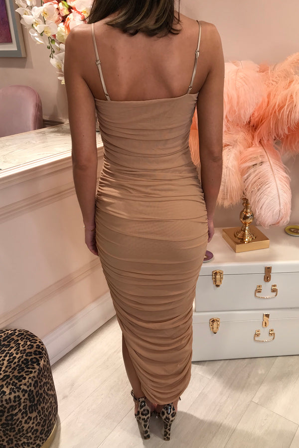 DEMI RUCHED NUDE MESH DRESS