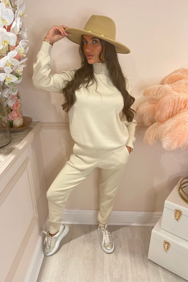 LINDSAY BEIGE TRACKSUIT WITH GOLD BUTTON SHOULDERS