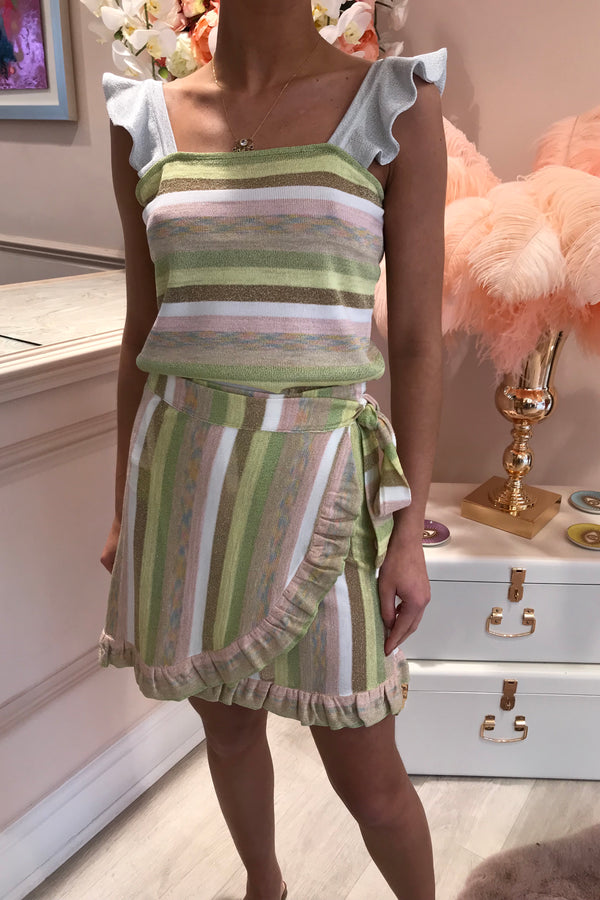 RUTH EROTOKRITOU STRIPE FRILL MINI SKIRT