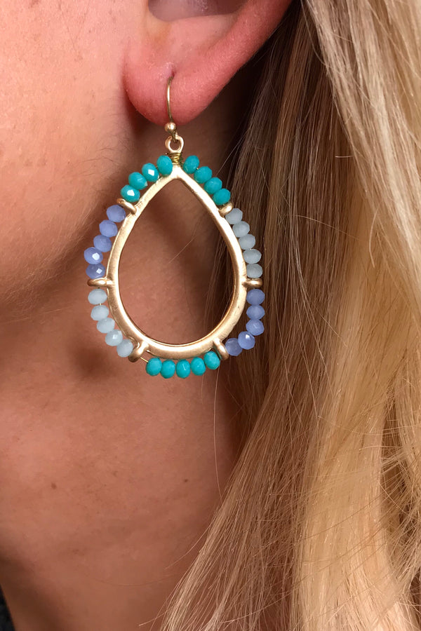 PIA 3 BLUE BEADED EARRINGS