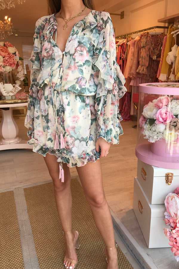 ORLA FLORAL BABY PINK RUFFLE PLAYSUIT