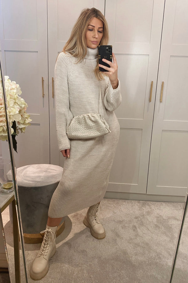 MADDI BEIGE KNITTED ROLL NECK MAXI DRESS